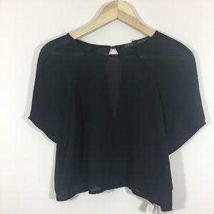 Zara sheer black keyhole back Blouse